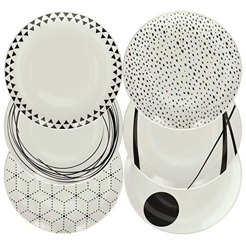 Tognana - Vajilla de 18 piezas Graphic, porcelana, blanco