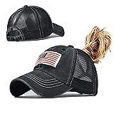 Nogewul American Flag Ponytail Baseball Cap for Womens Men High Messy Bun Hat Ponycaps Adjustable Dad Trucker Mesh Hats