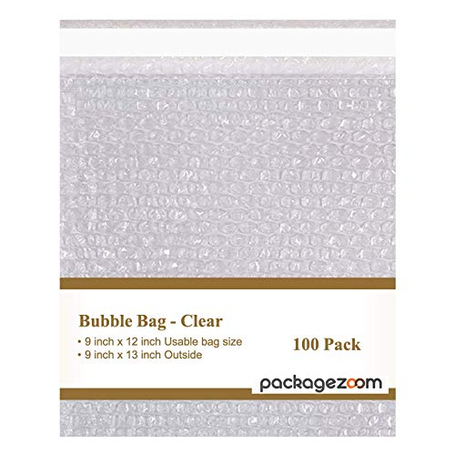 """PackageZoom Bubble Cushioning Wrap Bags – Clear 9""""X12"""" 100 Pack of Self Seal Bubble Out Bags - Bubble Pouches for Shipping, Packing, Moving, Storage"""