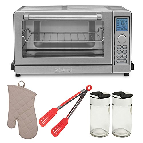 Cuisinart TOB-135 Deluxe Convection Toaster Oven Broiler with Oven Mitt, 8-inch Nylon Flipper Tongs and Cuisinart French Essentials Cookbook