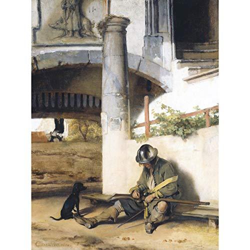 Fabritius Sentinel Sentry Dog Man Gun Painting Extra Large Wall Art Print Premium Canvas Mural Malerei Wand