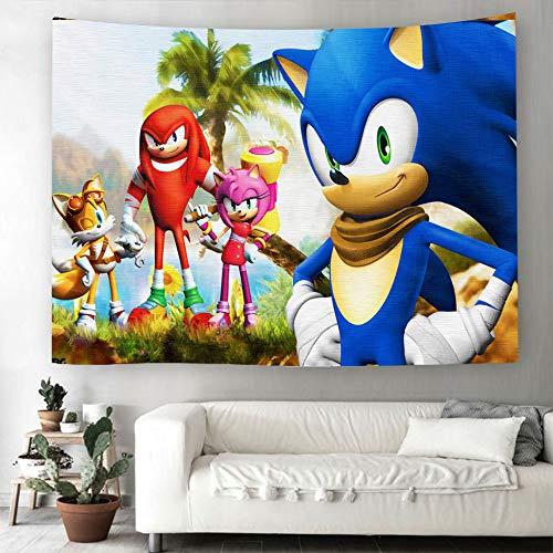 BHOMLY Tapiz 3D Sonic el erizo para colgar en la pared, para Halloween, decoración del hogar, toalla de playa, manta de picnic, manta de yoga, cubierta de televisión, tela de fondo (150 x 130 cm)