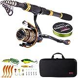 Sougayilang Telescopic Fishing Rod Reel Combos Portable Fishing Pole with Spinning Reel Fishing...