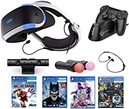 2021 Newest Playstation VR Marvel's Iron Man VR Bundle: VR Headset, Camera, 2 Move Motion Controllers, Iron Man VR Game for PS4 PS5 + Batman + Blood & Truth + Marxsol PS4 Controller Fast Charging Dock