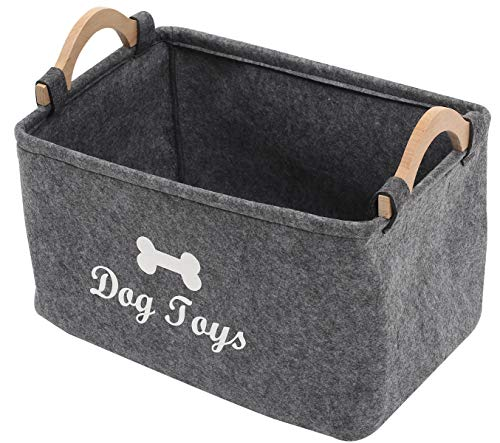Felt pet Toy Box and Dog Toy Box Storage Basket Chest Organizer - Perfect for organizing pet Toys, Blankets, leashes and Food - Dog Toy - Grey - L