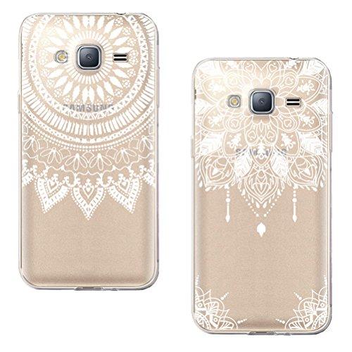 Blossom01 Samsung Galaxy J3 2016 hoes met gehard glas screen protector, White Flower Tribal Mandala Henna Indiase zon patroon bloemen TPU frame voor Samsung Galaxy J3 2016, Samsung Galaxy J3 2016, [2 stuks] #04