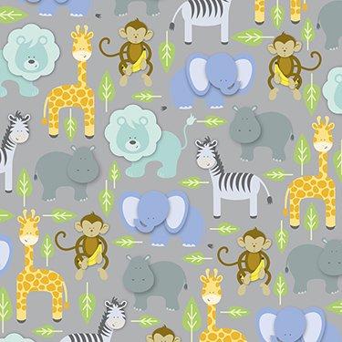 Zoo Animals Gift Wrap Flat Sheet 24' X 6'