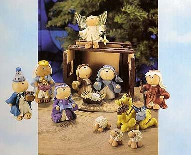 Russ 9-Piece Angel Cheeks Scene Christmas Nativity Set 7.5' #32377