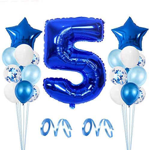 Globo de Cumpleaños 5 año, Globo 5 Año, 5 Cumpleaños Niño, Globo Numero 5 Gigantes, 5 Años Cumpleaños, Número 2 y Estrella de Helio Globos, Cintas, Globos de Confeti de Látex, Suministros de Fiesta