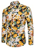 EMAOR Men's Novelty Flower Print Button Front Long Sleeve Floral Dress Shirt, CS 40, US Large = Tag 5XL