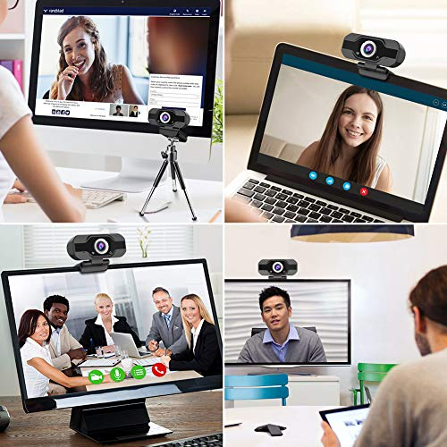 Aiglam Webcam, Webcam PC 1080P Cámara Web de Alta Definiciócon micrófono Reductor de Ruido y corrección de iluminación automática Web CAM de USB Plug and Play (Negro 1)