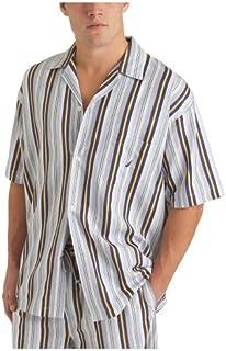 نوتيكا ملابس نوم رجالي شريط الإبحار قميص التخييم بأكمام قصيرة