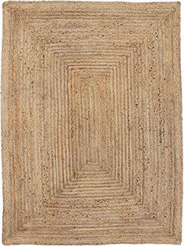CarpetFine: Juteteppich Nele Teppich 140x200 cm Beige - Einfarbig