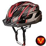 Shinmax Casco Bicicleta Adulto Casco Bicicleta con luz Casco Bicicleta Hombre Mujere,Casco Bicicleta con Visera,Certificado CE Ajustable Ligera Casco Ciclismo para Montaña Skateboard 56-62CM(RC-015)