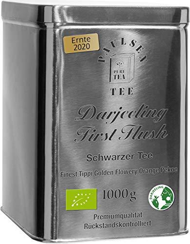 Bio Darjeeling First Flush, Ernte 2020, schwarzer Tee in sehr hochwertiger Edelstahldose Silber gänzend 1000g (44,50Euro/kg) rückstandskontolliert & zertifiziert