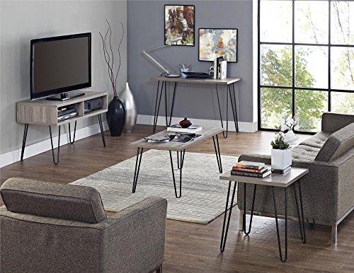 Ameriwood Home  Owen Retro Coffee Table with Metal Legs, Sonoma Oak Gunmetal Gray