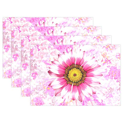 Summer Summer Flower Pink Flower Blossom Bloom Placemats Set of 4 Heat Insulation Stain Resistant for Dining Table Durable Non-Slip Kitchen Table Place Mats