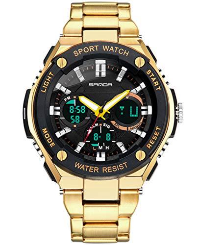 MLHXHX Reloj electrónico para hombre con esfera grande y correa de acero, resistente al agua, moderno, doble pantalla, reloj de negocios personalizado dorado