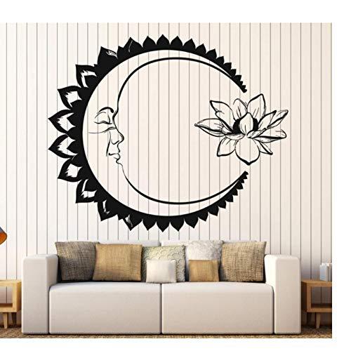 WYLYSD Luna Flor De Loto Meditación Pegatinas De Pared Calcomanía De Pared Yoga Dormitorio Diseño Pegatinas Diseño Personalidad Papel Tapiz 57X69Cm