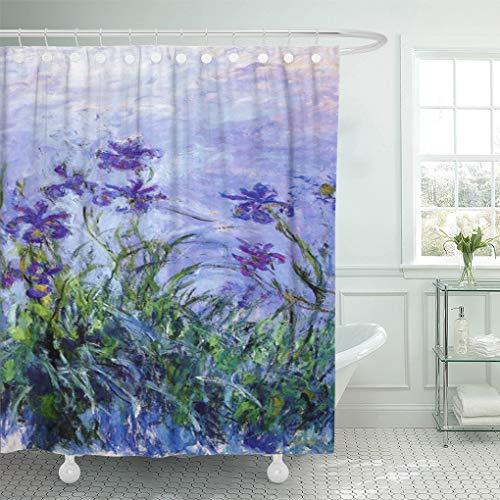 "Semtomn Shower Curtain Iris Monet Lilac Irises Paintings Impressionist Flower 66""x72"" Home Decor Waterproof"
