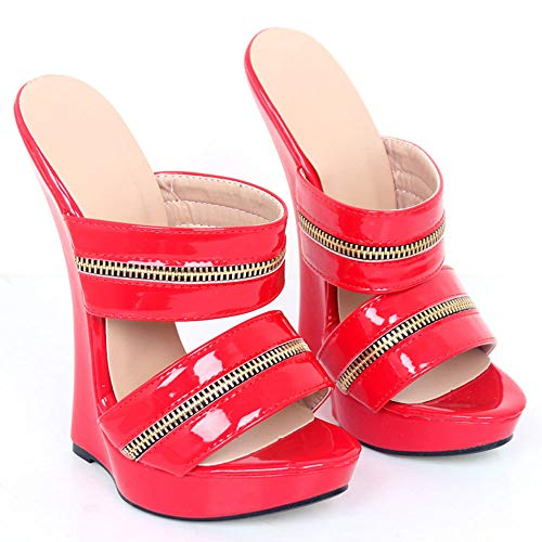 TIKENBST High Heels Fetisch Heels Frauen Sexy High Wedge Heels Leder Plattform Knöchelriemen Sandalen Sommermode,Red-40