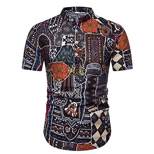 Manga Corta Hombre Verano Collar Pie Clásico Retro Estampado Hombre Shirt Casuales Vacaciones Estilo Hawaiano Novedad Creativa Moda Hombre Playa Shirt H-PL8 M