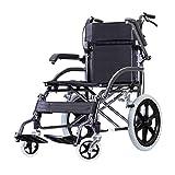 Wrwgl Chaise Pliante en Fauteuil Roulant Portable de Transport léger avec Scooter pédale Pied réglable en Aluminium Compact...