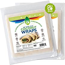 NUCO All Natural, Paleo, Gluten Free, Vegan Non-GMO, Kosher Raw Veggie NUCO Coconut Wraps Original Flavor. Low Carb and Yeast Free 10 Count (Two Packs of Five Wraps Each)