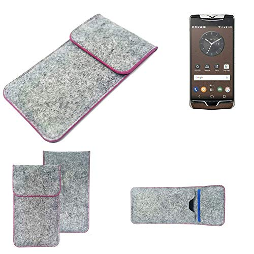 K-S-Trade® Handy Schutz Hülle Für Vertu Constellation (2017) Schutzhülle Handyhülle Filztasche Pouch Tasche Case Sleeve Filzhülle Hellgrau Pinker Rand