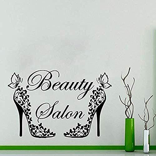 Muurstickers muurschilderingen Decals Venster Schoonheid Salon Vrouw Haar Salon Art Deco Haar Ontwerp Hoge Hakken Vlinder 74X113cm Zwart