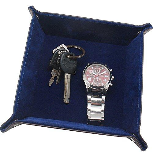 Leder Tablett, Boshiho Leder Catchall Key Phone Münzbox Valet Tray für Key Change Caddy, Bedside Tiny Coin Cash Box Brown Organizer (Blau)