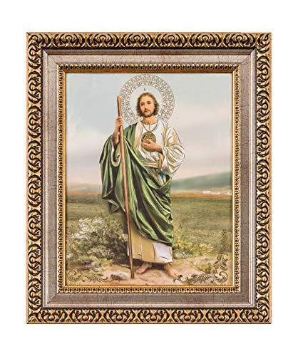 MEXICANDOO Saint Jude Thaddeus Framed Print (Cuadro de San Judas Tadeo) 11x13 inch with Golden and Silver Plated Finish Catholic Religious Wall Art Decoration