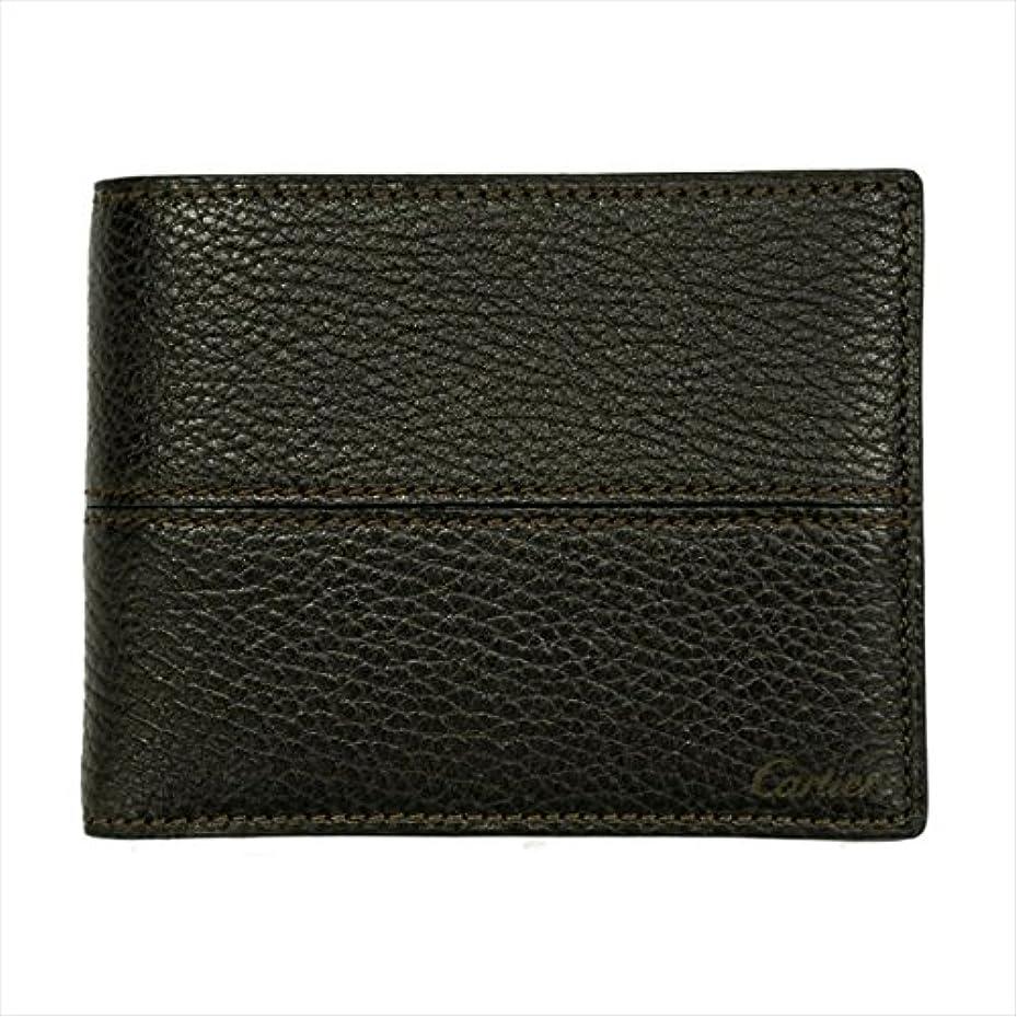 かすかな早熟指(カルティエ)Cartier サドルステッチ 二つ折り財布 L3001262 ダークブラウン 茶色 レザー 小銭入れ無し