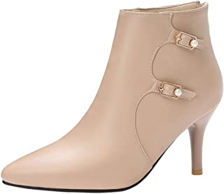 RAZAMAZA Women Fashion Pointed Toe Booties Stiletto Heels Zip