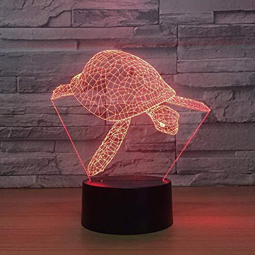 3D Illusione Ottica Luce Notturna Illuminazione Luce di Notte Game turtle Bambini Cameretta Casa Festa Decorazione Con ricarica USB, cambio di colore colorato
