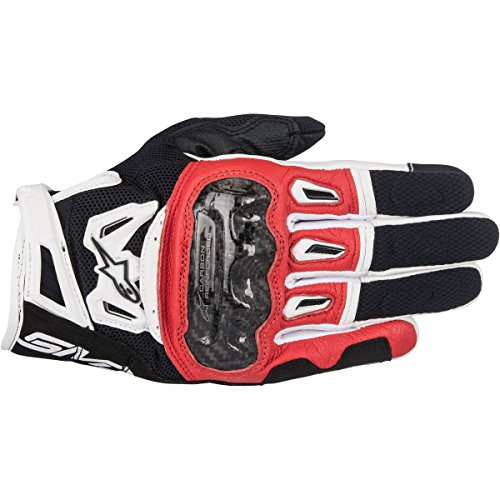 Alpinestars Men's SMX-2 Air Carbon V2 Leather Motorcycle Glove, Black/Red/White, Large
