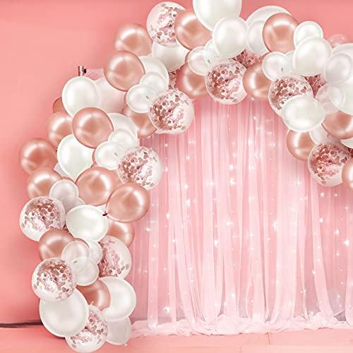 Set di palloncini per feste, 103 pezzi Set di arco con decorazione di palloncini con palloncini di coriandoli oro rosa, bianchi e trasparenti per compleanno, fidanzamento di nozze, baby shower