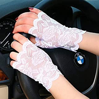 SHENTIANWEI Women's Half Finger Sunscreen Gloves Thin Lace Black Short Outdoor Driving Anti-UV Cover Scar Tattoo (Color : White, Size : One size-One pair)