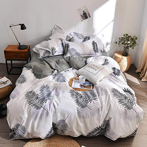 Duvet cover set Four-piece suit, Soft and comfortable, stylish and simple, multi-species bed linings-Feather leaf_1.8 four-piece set