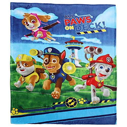 talever Kid Blanket Super Plush Throw Blanket Cartoon Print Kids Adults Character Lightweight Coral Fleece Blanket Size 59x78 inches (paw Patrol)