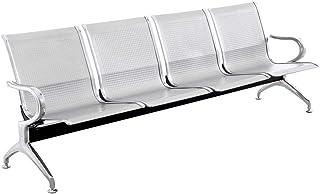 PrimeMatik - Bancada para sala de espera con sillas ergonómicas plateadas de 4 plazas