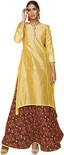 9183 Yellow Ready To Wear Indian Chanderi Cotton Kurti Digital Printed Work Pakistani Muslim Dress Women Girls