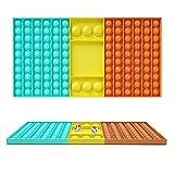Kine 126 Bubbles grandes Damier Push and Pop Bubble Sensory Fidget Toy avce 2 dados juego multijugador Pinzando juguetes sensoriales para apretar, silicona simple Dimple anti estrés