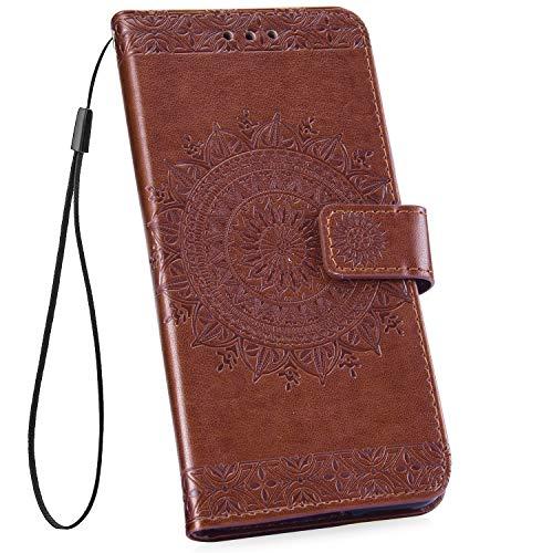 Ysimee Compatible pour Huawei P20 Coque Portefeuille Magnétique en Cuir Gaufrage Mandala Couverture Porte-Carte Pochette Folio à Clapet Etui Housse de Protection avec Fonction Support,Marron
