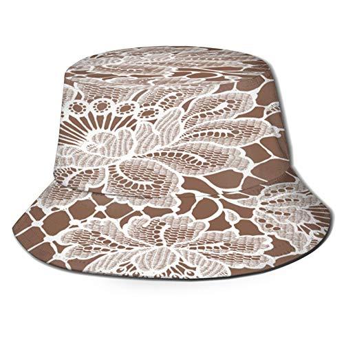 Sombrero de Pesca,Patrón Transparente de Encaje Blanco,Senderismo para Hombres y Mujeres al Aire Libre Sombrero de Cubo Sombrero para el Sol