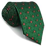shlax&wing Hombre La Moda Seda Corbatas Para Verde Rojo Puntos Extra largo