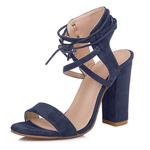 Minetom Sandalen Damen Riemchen Sandaletten 10 cm Party Blockabsatz High Heels Schuhe Elegante Abendschuhe Übergröße Mode Shoes Sommer Blau EU 41