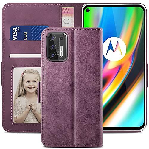 YATWIN Funda Motorola Moto G9 Plus, Cuero Premium Flip Folio Carcasa para Moto G9 Plus, Soporte Plegable, Ranura para Tarjeta, Cierre Magnético, Funda Libro para Motorola Moto G9 Plus, Vino Rojo