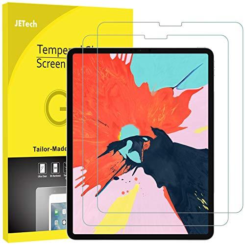 JETech 2 Stück Schutzfolie für iPad Pro 12,9 Zoll (2018 Veröffentlichung Kante zu Kante Liquid Retina Bildschirm), Gehärtetem Glas Panzerglas Bildschirmschutzfolie