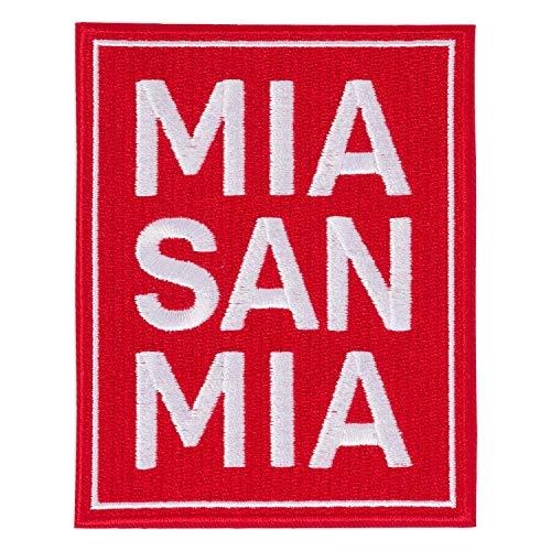 Bayern München Aufnäher - MIA SAN MIA - 10 x 7.8 cm Patch, Aufbügler kompatibel FCB - Plus Lesezeichen I Love München